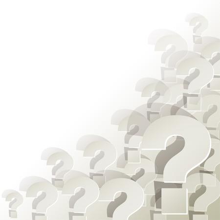Question Marks in de hoek op een witte achtergrond