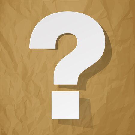 question mark: Question auf einem zerknitterten Papier braunem Hintergrund