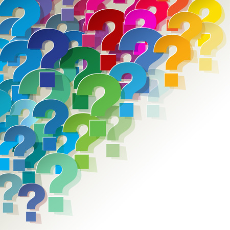 Question Marks colorful in the corner on a white background