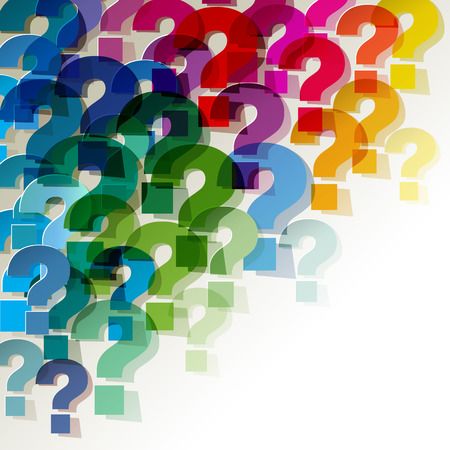 Question Marks colorful transparent in the corner on a white background Imagens - 44329526