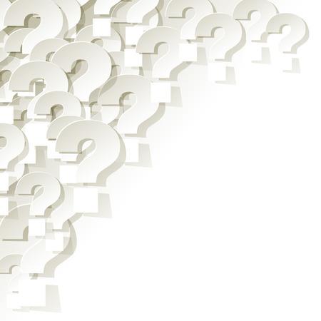 Vraagtekens in de hoek op een witte achtergrond Stock Illustratie