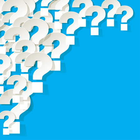 correspond: Question Marks in the corner on a blue background