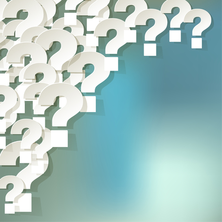 correspond: Question Marks in the corner on a blue bokeh background Illustration