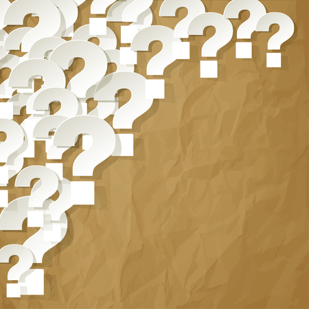 correspond: Question Marks in the corner on a crumpled paper brown background