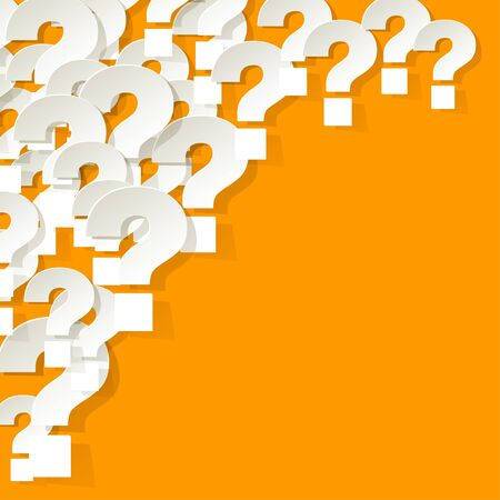 correspond: Question Marks in the corner on a yellow background Illustration