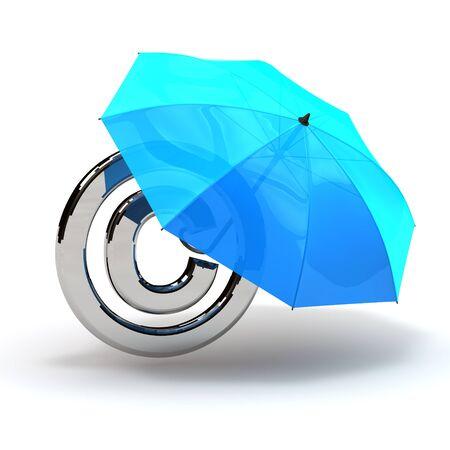 copyright symbol with umbrella protection blue Stock Photo
