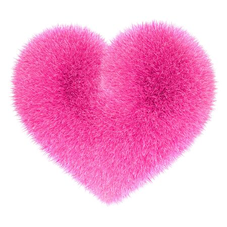 pink fur: Heart in pink fur Stock Photo