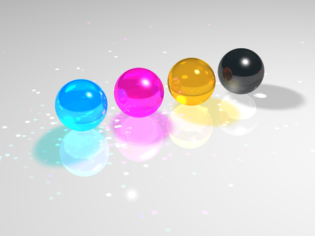 the caustic: CMYK glass balls caustic on a gray background