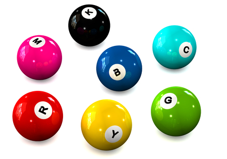 4 color printing: Billiard balls with letters RGB and CMYK on a white background
