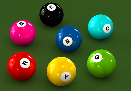 4 color printing: Billiard balls with letters RGB and CMYK on a green background Stock Photo