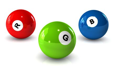 4 color printing: Billiard balls with letters RGB on a white background