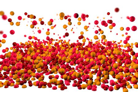 particulate: 3d red orange yellow particles drops background