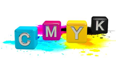 CMYK colored cubes on a white background