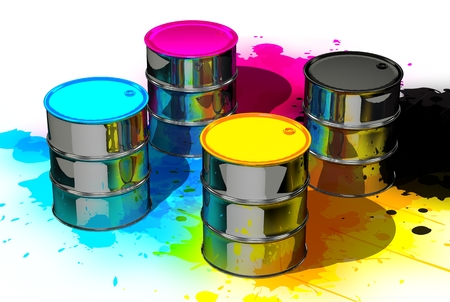 trichromatic: CMYK cans in spots splashes Stock Photo