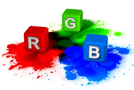 trichromatic: RGB cubes in spots with splashes Stock Photo