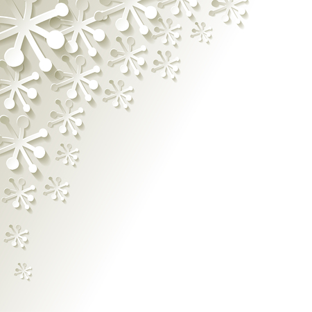 white paper snowflakes on a white background  イラスト・ベクター素材