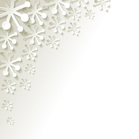 Witte papieren sneeuwvlokken op een witte achtergrond