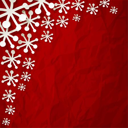 white paper snowflakes on crumpled paper red background Illustration