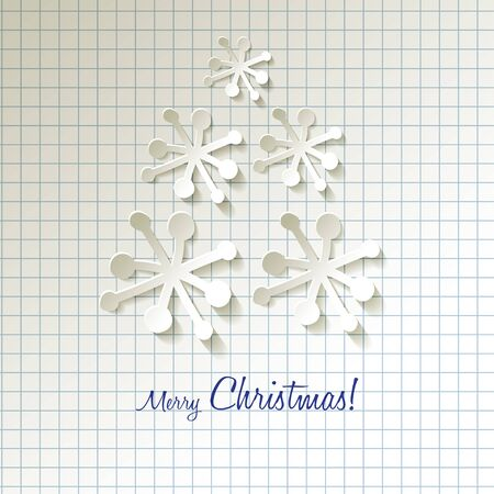 postcard background: Christmas Tree Postcard with paper snowflakes on a checkered pattern background
