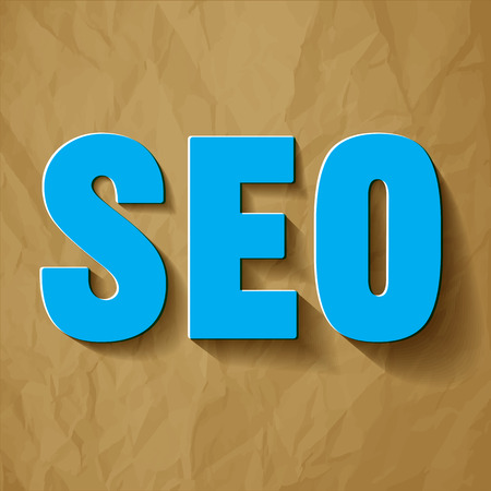 SEO blue symbol on a crumpled paper brown background