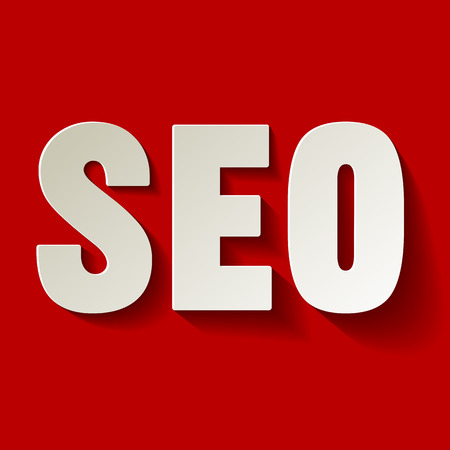 social system: SEO symbol white paper on a red background