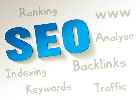 keywords background: SEO symbol blue paper on a white background with keywords Illustration