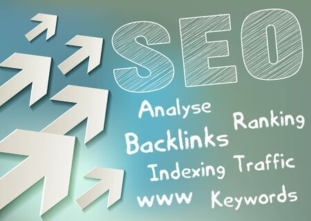 SEO symbol white scribble with arrows on a bokeh background
