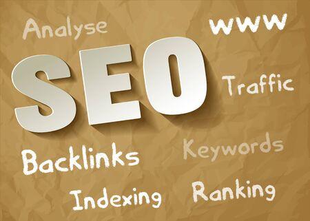 keywords background: SEO symbol white paper on a crumpled paper brown background with keywords