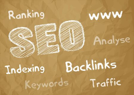 SEO symbol white scribble on crumpled paper brown background with keywords, Illustration