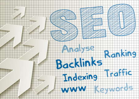 SEO symbol scribble blue pencil pen with arrows on checkered paper background. Chart with keywords.