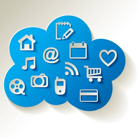 social system: Blue Cloud with white web icons on a white background.