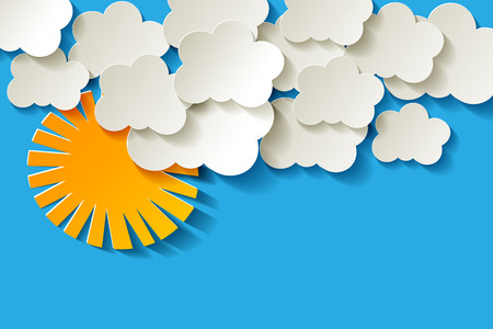 white clouds: White paper clouds with sun on a blue background