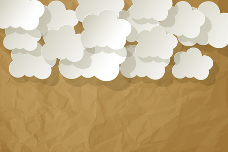 knowledgeable: White paper clouds on a crumpled paper brown background