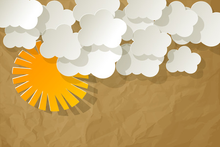 knowledgeable: White Clouds with Sun on a crumpled paper brown background