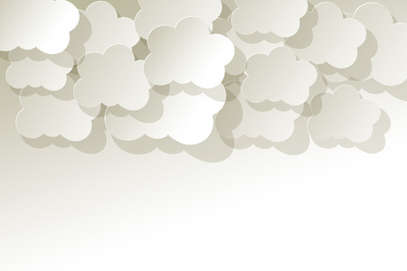 knowledgeable: White Clouds on a white paper background Illustration