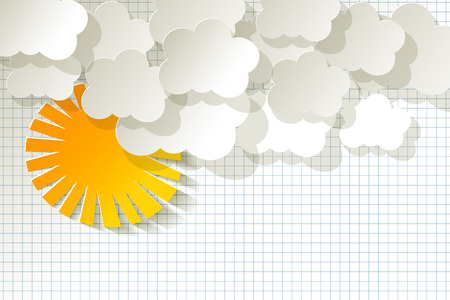 knowledgeable: White Clouds with Sun on a checkered pattern background
