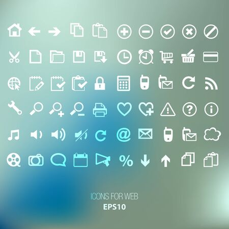 smartphone icon: Icons WEB INTERFACE white on a blue background bokeh Illustration