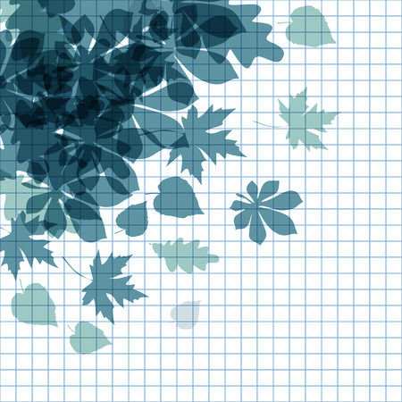 fall leaves on white: Vector of autumn leaves on a dark blue checkered paper background. Illustration