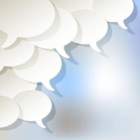 Chat speech bubbles vector white ellipse in the corner on a light blue background bokeh fog. Иллюстрация