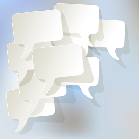 pronunciation: Chat speech bubbles vector white on a light blue background bokeh fog.