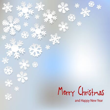 sylvester: Merry Christmas postcard snowflakes on a light blue background bokeh fog. Illustration