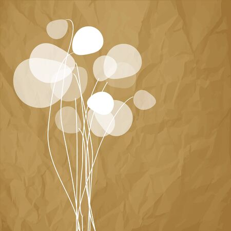 harmony nature: Flowers dandelions on a crumpled paper brown background.