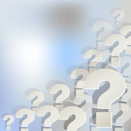 Question marks in the corner on a light blue background bokeh fog. 일러스트