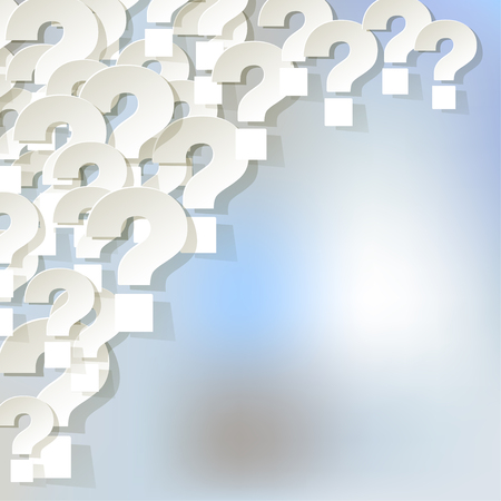 correspond: Question marks in the corner on a bright blue bokeh background fog.