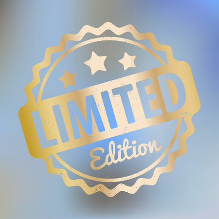stamp vector: Limited Edition rubber stamp vector gold award on a bright blue bokeh background.