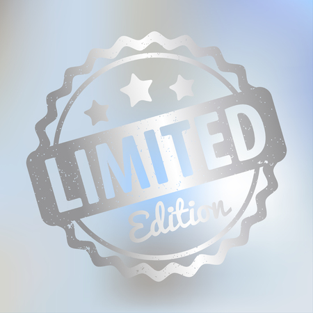Limited Edition rubber stamp vector silver award on a bright blue bokeh background.