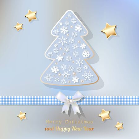 worth: Merry Christmas postcard light blue. Illustration