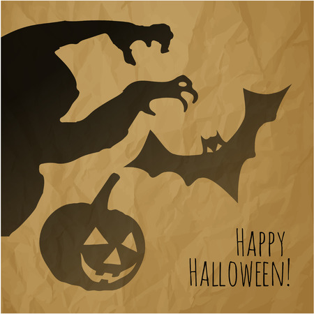 creepy monster: Happy Halloween postcard with monster pumpkin and bat shadows on a crumpled paper brown background. Illustration