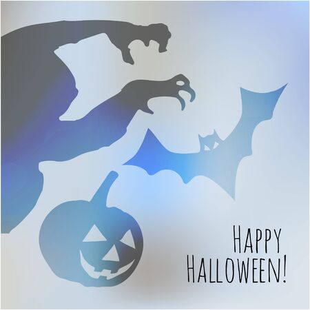 postcard background: Happy Halloween postcard with monster pumpkin and bat shadows on a bright blue bokeh background fog.