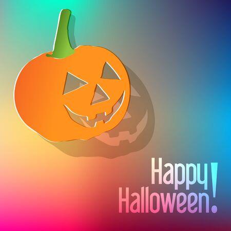 postcard background: Happy Halloween postcard with pumpkin on a rainbow background.